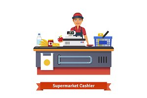 Supermarket counter and clerk