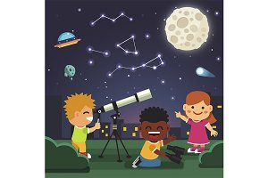 Kids making telescope observation
