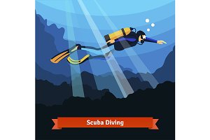 Scuba diver man swimming underwater