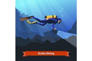Professional scuba diver underwater
