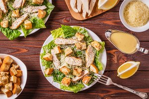 Homemade chicken caesar salad