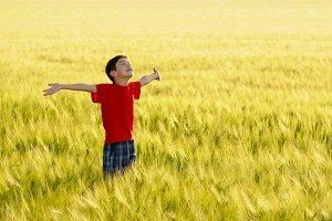 Child enjoying the sun