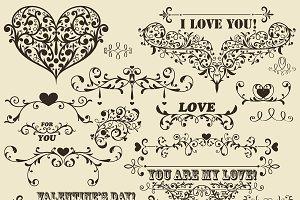 Vector Vintage Valentine's  Design E