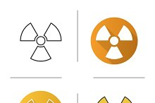 Radiation sign icons. Vector