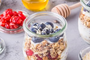 jar of oat flakes with fresh fruit