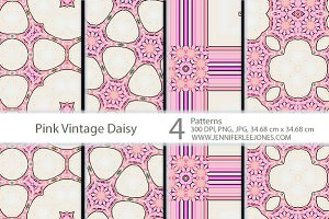 Pink Vintage Daisy Patterns