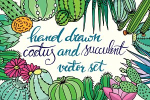 20 hand drawn cactuses & succulents