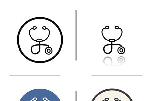 Stethoscope icons. Vector