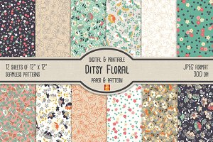 Ditsy Floral Digital Paper & Pattern