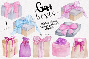 Pink Gift Boxes Watercolor clipart