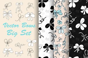 Big Hand-Drawn Bows Set.