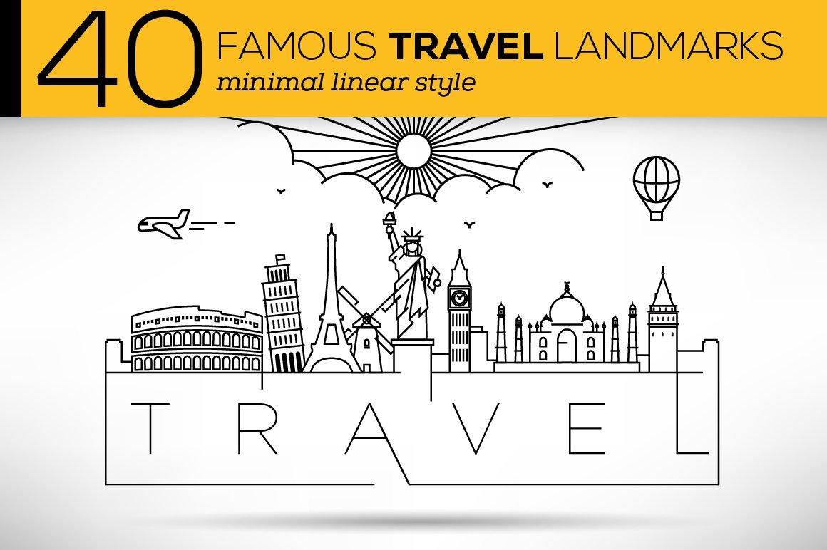 40 World Famous Vector Landmarks Icons Creative Market