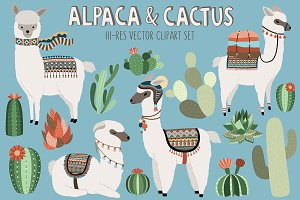 Llama and Cactus Clipart Bundle