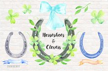 Watercolor Horseshoe and Clover