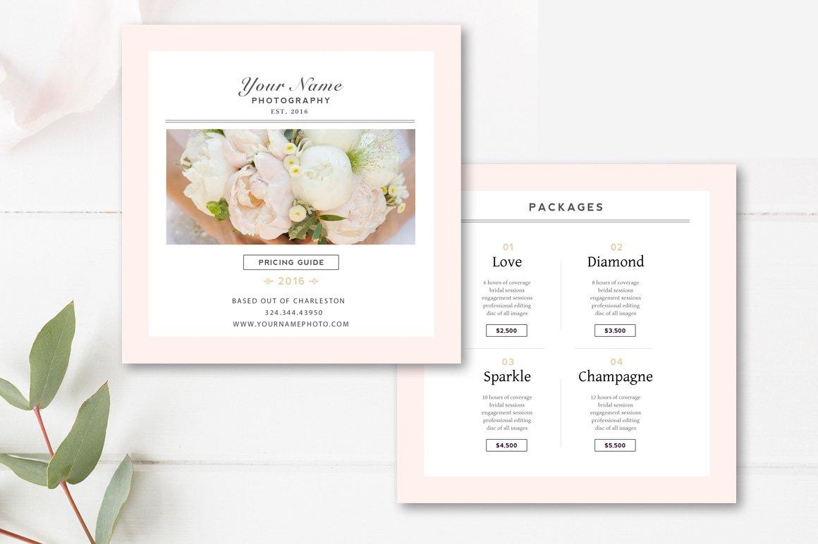 wedding photographer pricing list flyer templates creative market. Black Bedroom Furniture Sets. Home Design Ideas