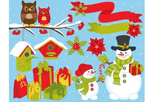 Vector Christmas Set with Snowmen