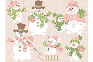 Vector Christmas Snowmen Set