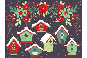 Christmas Flowers with Birdhouses
