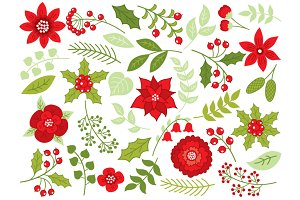 Christmas Flowers and Berries Set