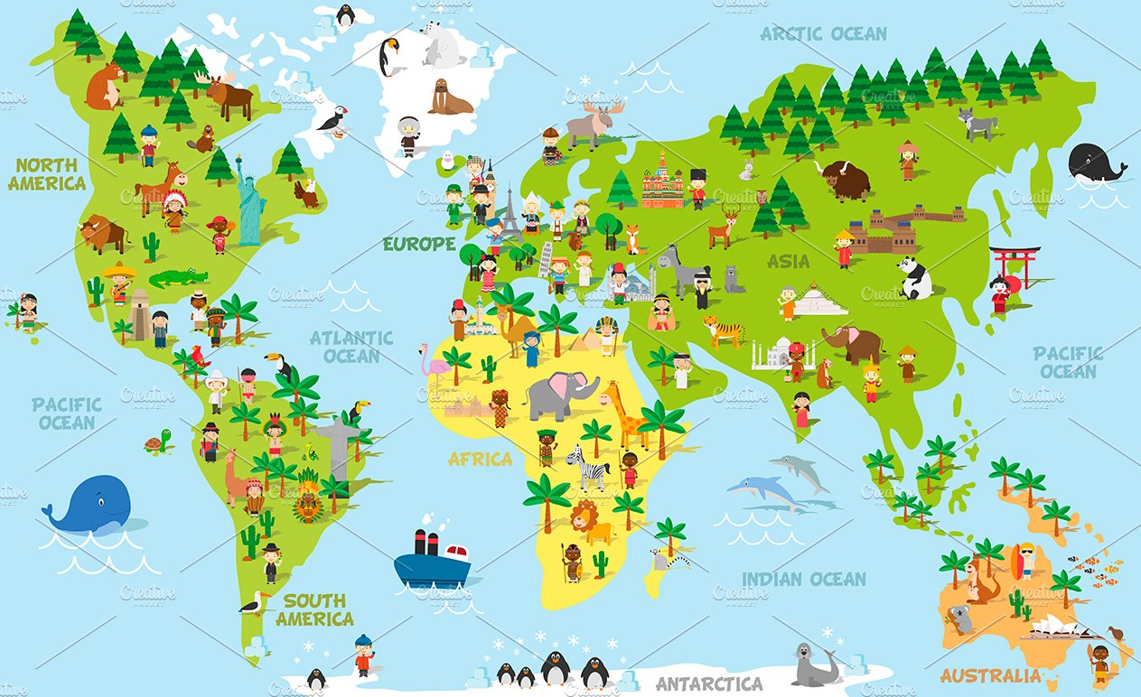 cartoon world map with kids and more pre designed illustrator graphics creative market cartoon world map with kids and more