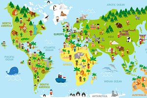 Cartoon World Map with kids and more