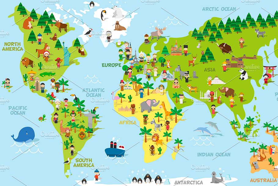 Cartoon World Map with kids and more ~ Illustrations ...