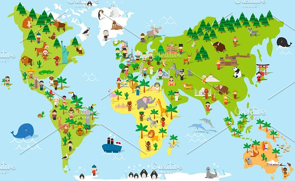 Cartoon World Map With Kids And More Illustrations Creative Market - World map no names