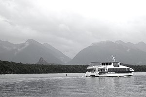 Ferry trip by the mountains