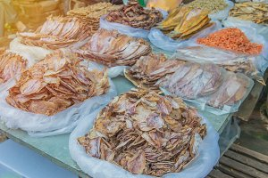 dried squid in the market.