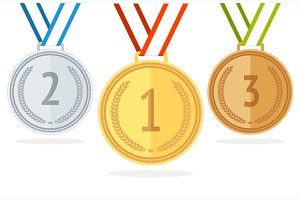 Medal Set. Flat Style. Vector