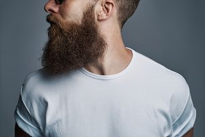 Profile of bearded handsome man with sunglasses