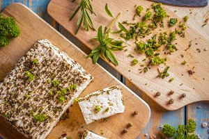 Cheese with different herbs