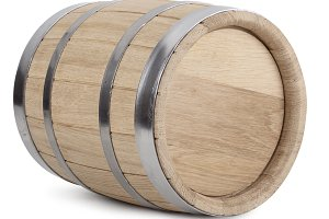 Oak wooden barrel with iron rings