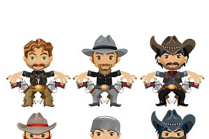 Men characters in a wild West style