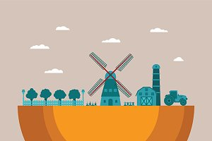 Rural farm with windmill