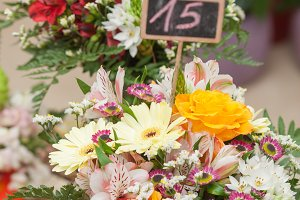 Bouquets for sale in a flower shop