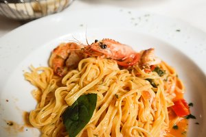Pasta with king prawn