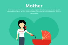 Mother with a Baby Carriage Banner