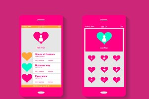 Mobile interface pink color hearts