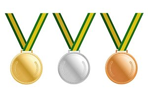 Medals: Gold, silver and bronze