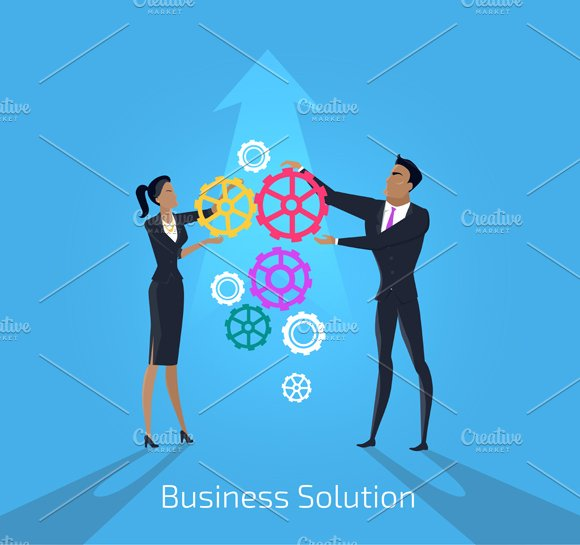 Business solution. Man and woman - Illustrations