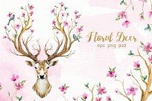 """""""Floral deer"""" Watercolor Set"""