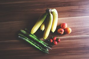 Fruits and asparagus