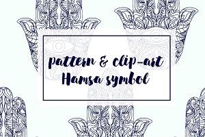 patterrn & clip-art Hamsa symbol