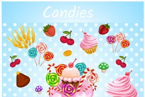 Bakery, lollipops, candies, cupcakes