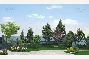 Front yard horticultural background
