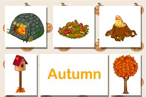 8 autumn different icons