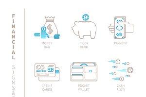 Financial iconset monoline