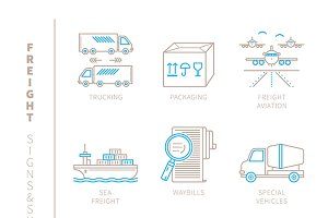 Freight iconset lineart