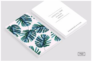 Monstera + Pastel Pink Business Card